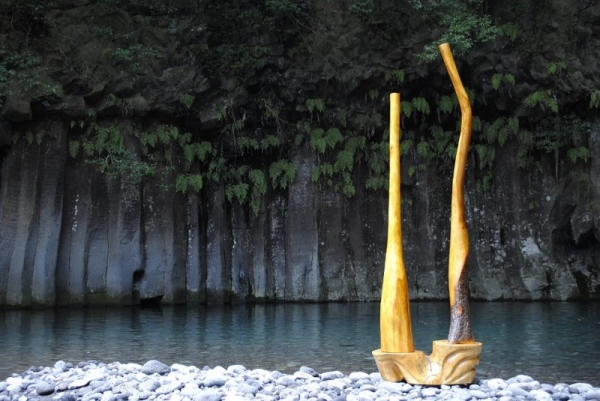 TUBE-管- (桜・高野槇) 台(松)白砂勝敏 2015~2016年制作