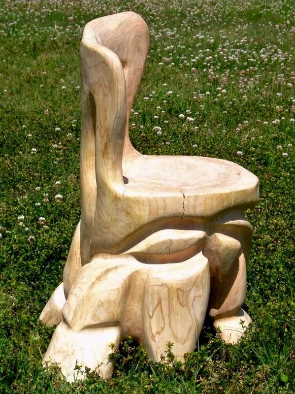 白砂勝敏 一木彫り椅子 ancient-groove