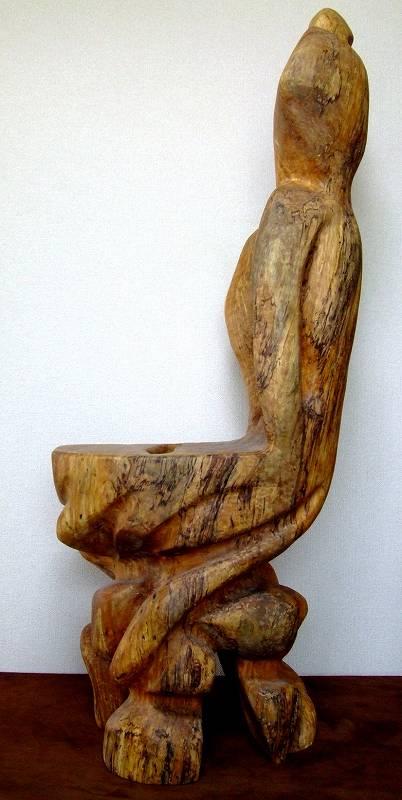 白砂勝敏 一木彫り椅子 祈人天仏人