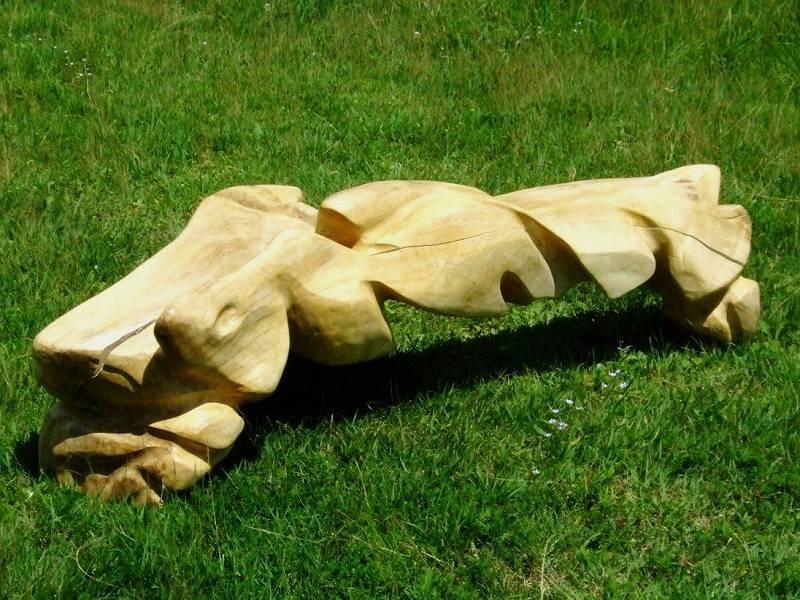 白砂勝敏 一木彫り椅子 古代深海魚