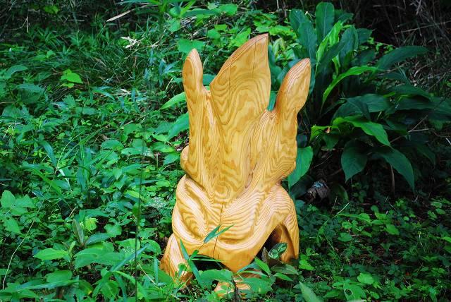 白砂勝敏 一木彫り椅子 未来から来た古代生命体2